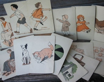 1930's Rare Early DICK and JANE Pre-Primer Set of 18 Original Flash Cards * Price Lowered