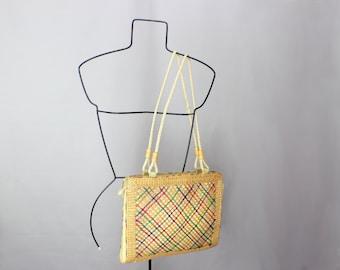 SALE Vintage Straw Tote Basket Weave Purse Summer Handbag