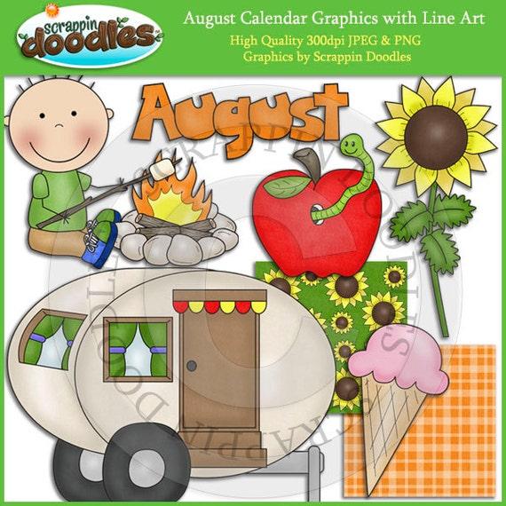 August Calendar Clip Art with Line Art Download