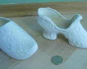 Ceramic BIsque Craft supplies/Ready to Paint Greenware Tiny Shoes Set of Two Home Decor