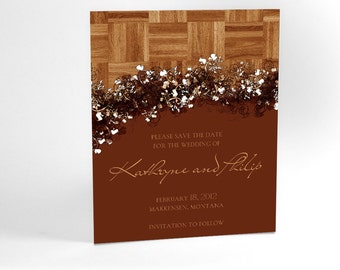 Save the Date Cards with Faux Wood and Floral Accents, Perfect for Autumn and Winter Weddings, Pick Your Custom Color