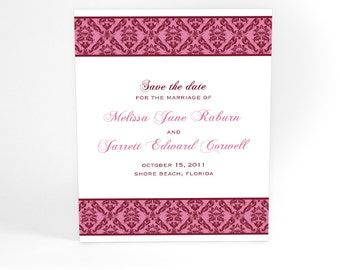 Vintage Inspired Wedding Save The Date Cards with Elegant Damask Pattern for a Sophisticated Wedding Announcement in Your Chosen Color