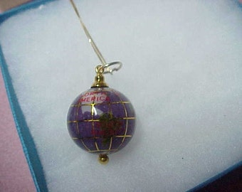 """Vintage Pendant, Depicting the Earth, Purple Enamel and Gold, 22MM, with Gold Box Chain 18""""."""