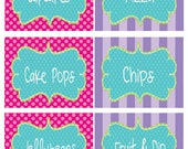 Hot Pink, Purple and Turquoise Birthday Party Printable Fancy Labels
