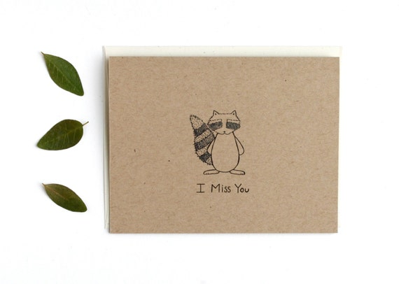 CIJ SALE - I Miss You Card - Come home and eat pancakes with me - Brown Kraft Card