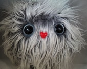 """Furry Monster Plush - Grey and White - 10"""" Coodle"""