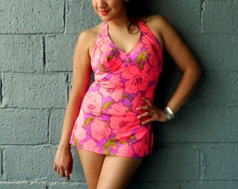 Vintage 60s CATALINA Swimsuit Maillot Pink and Purple Floral Print Hawaii Style Skirted Excellent Condition