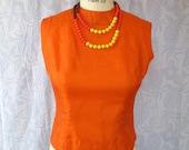 Little Silk Pumpkin Shell Orange 1950s Jackie O Blouse