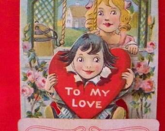 Collectible Vintage Valentine 3D Stand Up Valentine Young Children In A Floral Garden To My Valentine 1910's