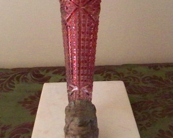 EDWARDIAN ERA Art Nouveau Cherub Face Ruby Glass Epergne Marble Base Je Ne Sais Quoi 1800's Decor Cornucopia Maitland Smith Style Bronze