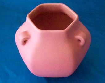1930 Rookwood Pottery Pink Hexagon Vase 3 Handle Art Deco Pink Pottery Shape 2671