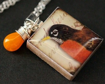 Bird Necklace. Robin Necklace. Scrabble Tile Necklace. Charm Necklace with Orange Teardrop. Handmade Jewelry.