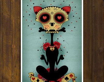 sale! Chihuahua Dog Calaca - Sugar Skull Day of the Dead - PRINT -