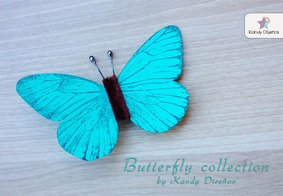 Blue Butterfly brooch chocolate Monarch brooch Woodland brooch Romantic whimsical