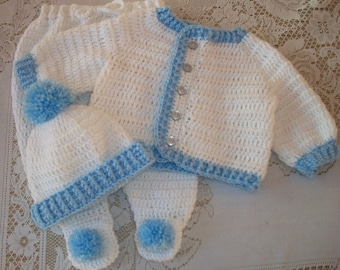 Crochet Baby Boy Sweater Set Layette With Leggings Perfect For Baby Shower Gift or Take Me Home Outfit
