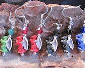 One Pair Ceramic Dragon Earrings
