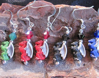 One Pair Ceramic Dragon Earrings