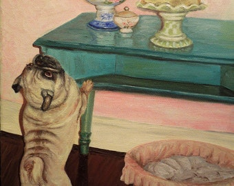 """Pug painting is an original oil painting entitled """"Buck wants Cake""""...for obvious reasons"""