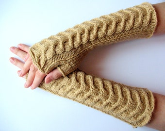 Beige Fingerless Gloves Long Cream colored Mittens Arm Warmers, Acrylic Wool