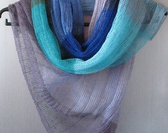 Linen Scarf Linen Clothing Scarves for Women Knit Scarf Infinity Scarf Blue Turquoise Azure Violet Plaid Scarf Women Shawl Womens Scarves