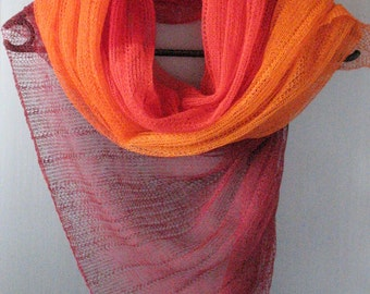 Linen Scarf Red Burgundy Orange Organic Linen Women's Scarf Pure Linen Spring Clothing