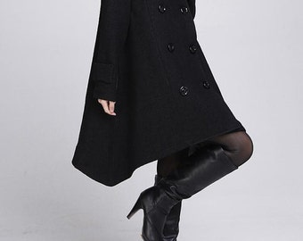 Double breasted Hoodie wool coat/ winter wool coat/ hood Cloak coat