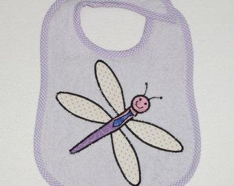 Dragonfly Toddler Bib - Dragonfly Applique Lavender Terrycloth Toddler Bib