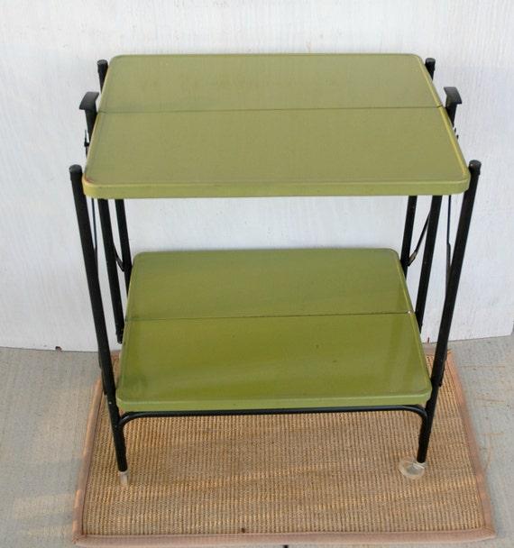 Vintage Folding Metal Kitchen Cart Avocado With Black