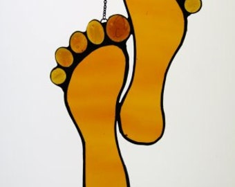 Footprints Stained Glass Suncatcher