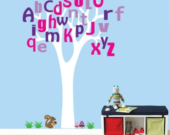 Reusable ALPHABET Tree Wall Decal  SW336