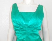 1950s/1960s Emerald Green Satin Wiggle Dress Super Sexy