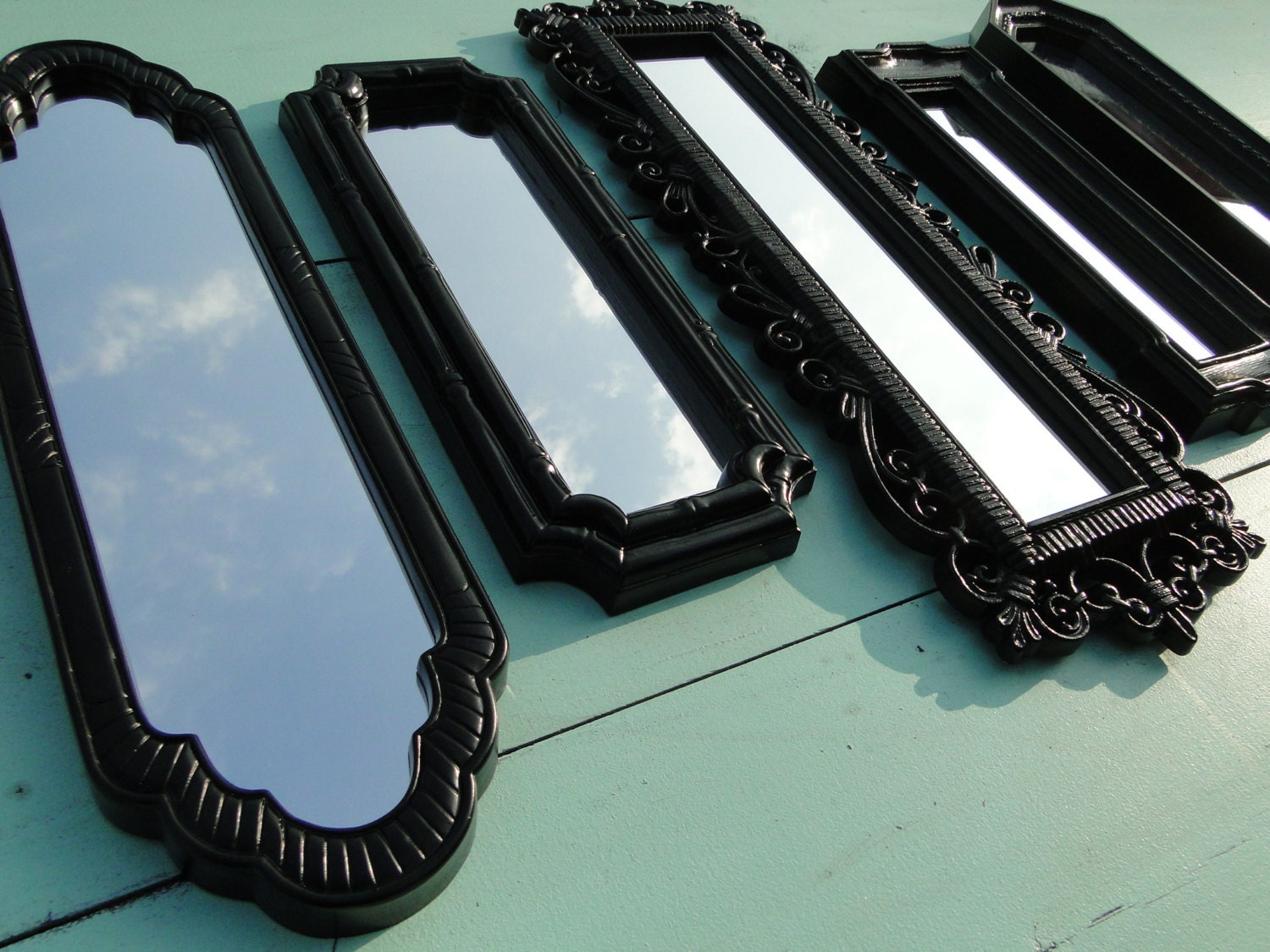 Long ornate mirror collection vintage gothic mirror by for Long antique mirror