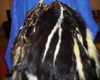 Skunk tanned fur pelt real animal skin hide part