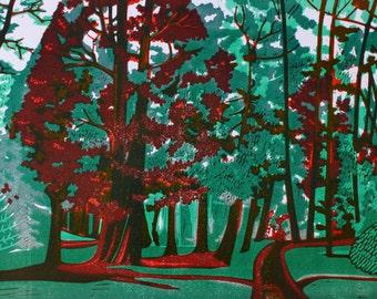 Bournemouth Gardens, signed original linocut print, mint & cherry TP