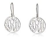 """Monogram Earrings - Circle monogram Earrings 925 Sterling Silver-0.8"""""""