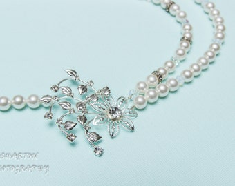Swarovski Bridal Necklace White Pearls and Crystals Rhinestone Flower