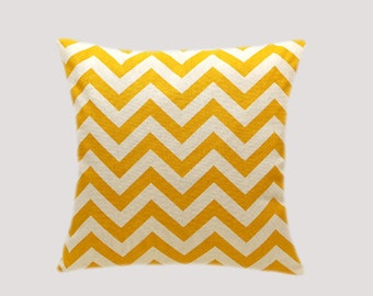 """Decorative Pillow case, Yellow Off White Cotton Throw pillow case with Zigzag motif, fits 18"""" x 1 8"""" insert, Toss pillow case, Cushion case."""