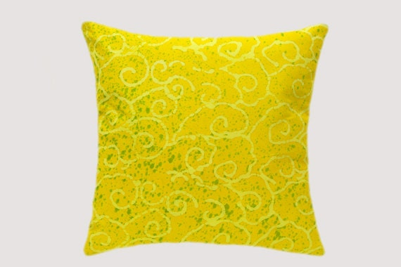 Yellow Throw Pillow Cases : Batik Throw pillow case Yellow Green colors fits 18x