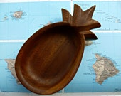 Vintage Pineapple Monkey Pod Wood Bowl Made in Hawaii