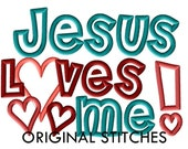 Jesus Loves Me Machine Applique and Embroidery Digital Design File 5x7 6x10