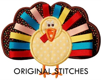 Ribbon Turkey Applique and Machine Embroidery Digital Design File 4x4 5x7 6x10 Thanksgiving