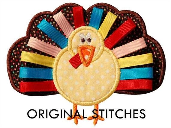Ribbon Turkey Applique and Machine Embroidery Digital Design File 4x4 5x7 6x10 Thanksgiving