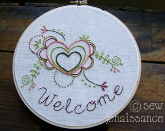 Embroidery Pattern PDF  Welcome Flowers Hearts Spring Design