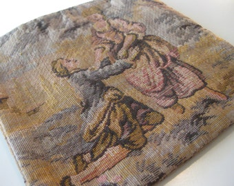 Vintage English Countryside Tapestry - Coin Purse - Made in Belgium Tapestry - Proposal and Sleeping Maiden Pose