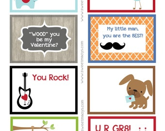 Printable Lunchbox Notes (Boys Valentine)