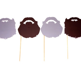 Set of 4 Beards - Beard on a stick props - Birthdays, Weddings, Parties - Set of 4 Photo Booth Props