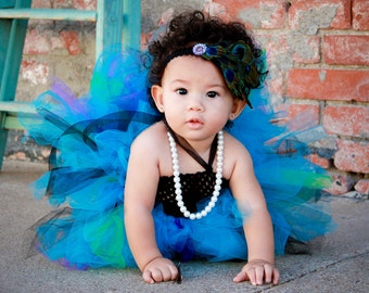 WHOLE OUTFIT Baby Girls Peacock Colors Tutu Dress with Black Crochet Top and Peacock Feather Headband Set Photo Prop Party Dress Costume