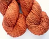 Hand Dyed DK Yarn - Superwash Merino Wool Yarn in Copper Penny Colorway