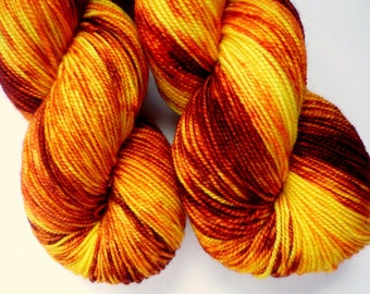Hand Dyed Yarn - Superwash Merino Sock Weight in Serengeti Sunset Colorway