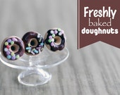 Polymer Clay Miniature Food Jewelry - Sprinkled Candy Chocolate Icing Doughnut  Stud Earrings